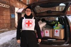 Красный крест в приюте для бездомных